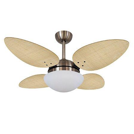 Ventilador de Teto Bronze e Pás Palha Natural VD42 Petalo Palmae 127V Volare
