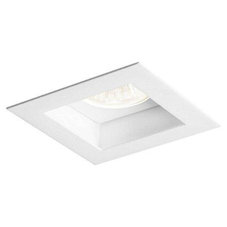 Spot Embutir Direcionável Recuado Dicroica PAR16 Alumínio Quadrado Branco