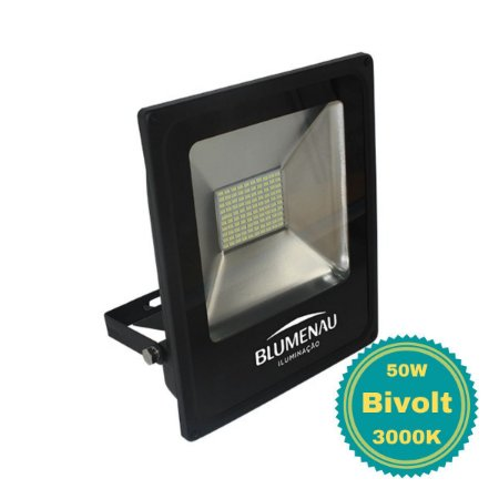 Refletor Área Externa LED 50W Luz Amarela Bivolt Slim