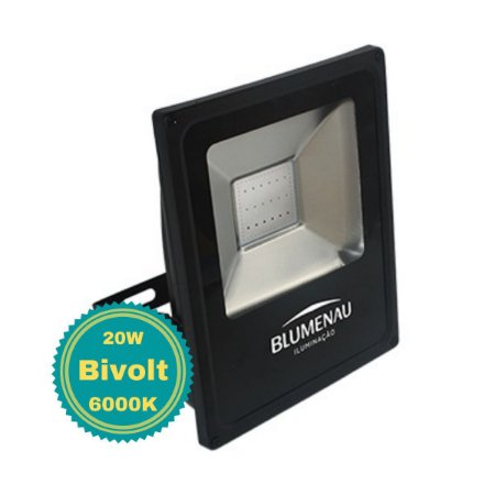 Refletor LED 20W Luz Branca para Área Externa Bivolt Slim Alumínio