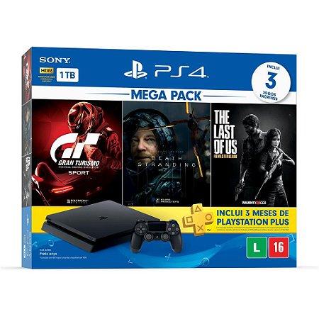 Playstation 4 Slim - 1Tb + Kit 5 Jogos C/ 3 Meses De Psn