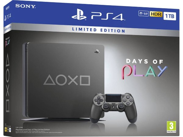 PlayStation 4 - 1TB Edição Limitada Days Of Play - Cinza
