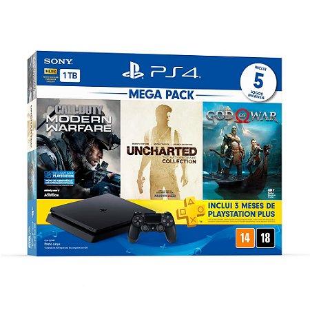 Playstation 4 Slim - 1Tb + Kit 5 Jogos + 3 Meses De Psn