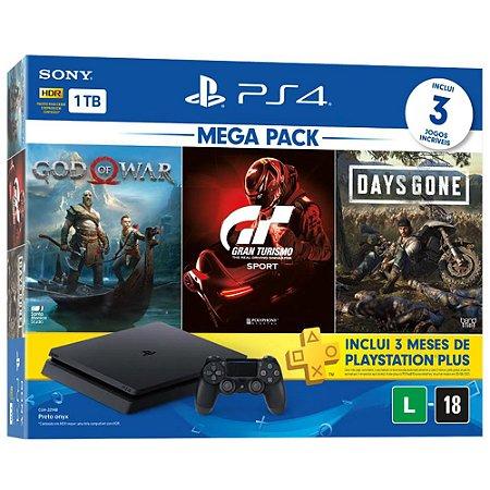 Playstation 4 Slim - 1Tb + Kit 3 Jogos C/ 3 Meses De Psn