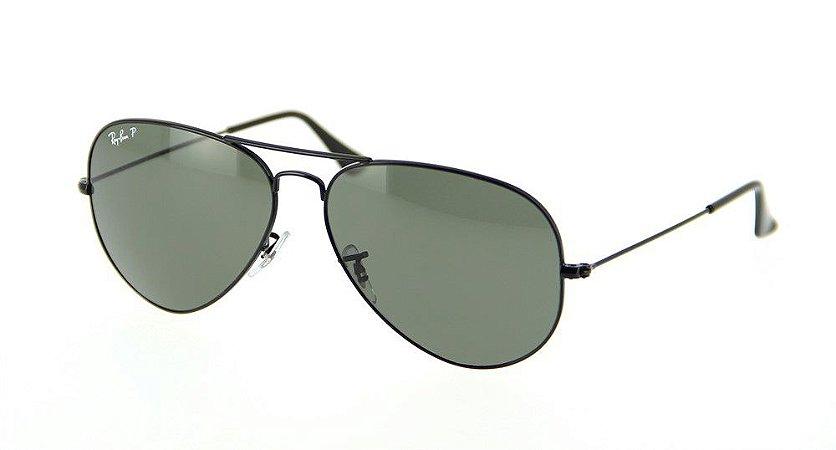 7de92fd04c Óculos Aviador Estilo Ray Ban - Preto com Lente Verde - Brazil Outlet