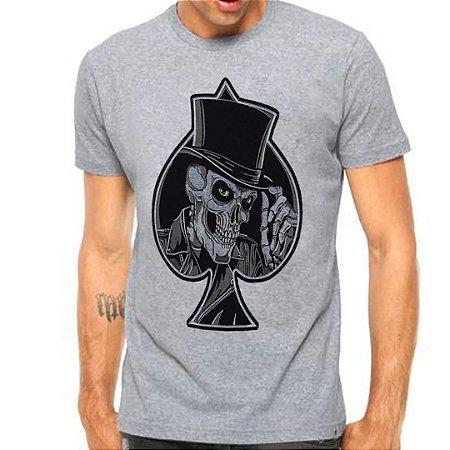 Camiseta Manga Curta Caveira Coringa Espada