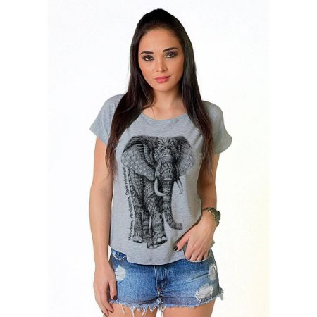 Camiseta T-shirt  Manga Curta Elefante Tattoo