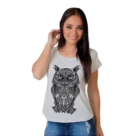 Camiseta T-shirt  Manga Curta Coruja Tattoo