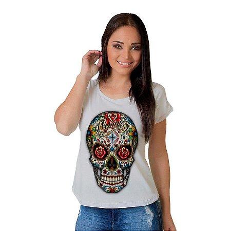 Camiseta T-shirt  Manga Curta Caveira Colorida