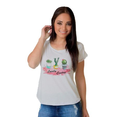 Camiseta T-shirt  Manga Curta Lovely Cactus
