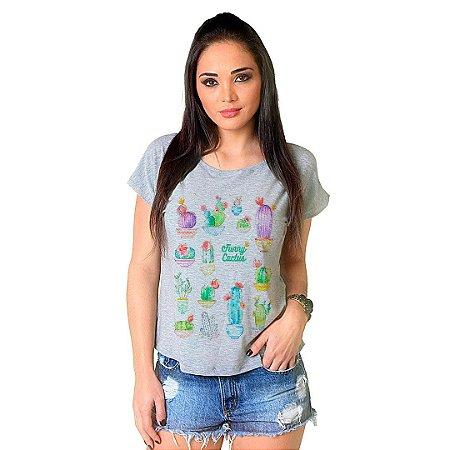 Camiseta T-shirt  Manga Curta Funny Cactus