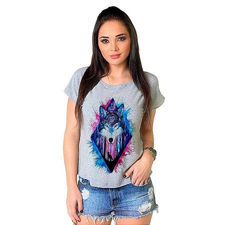 Camiseta T-shirt  Manga Curta Lobo Color