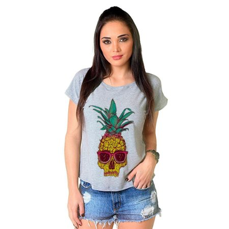 Camiseta T-shirt  Manga Curta Pineapple Skull