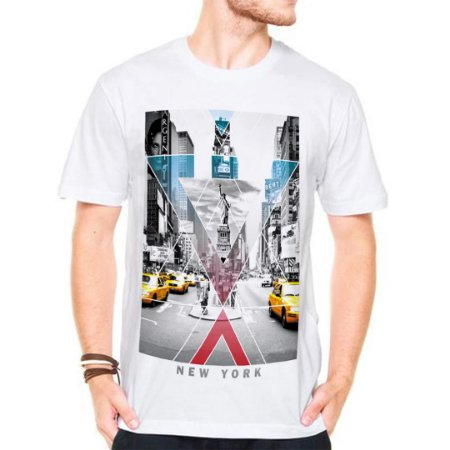 Camiseta Manga Curta New York Cinza