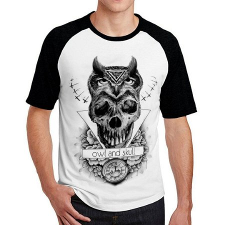 Camiseta Raglan Owl Skull