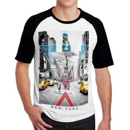 Camiseta Raglan New York Cinza
