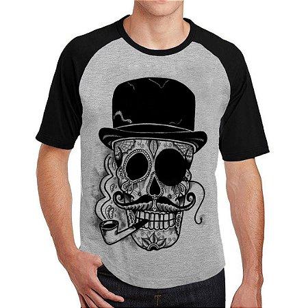 Camiseta Raglan Caveira Cartola