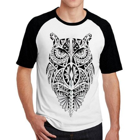 Camiseta Raglan Coruja Maori