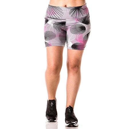 Shorts Cinza com Rosa Alta Perfomance