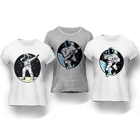 Kit 3 Camisetas Astronautas
