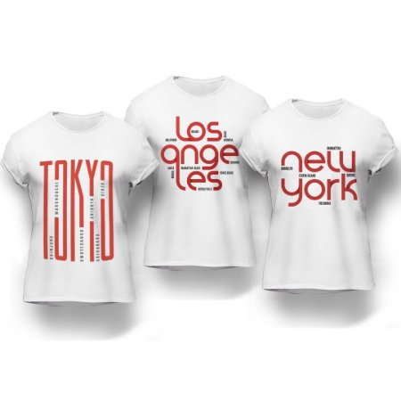 Kit 3 Camisetas Cidades