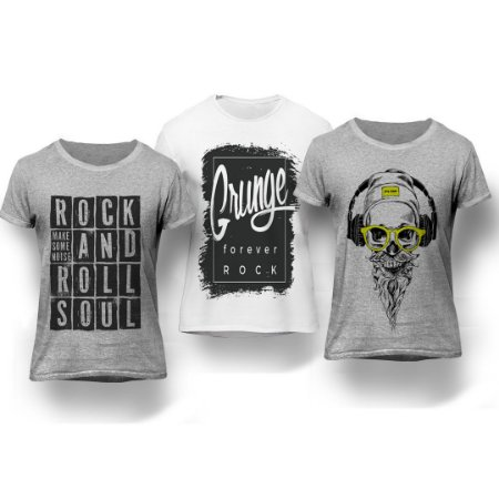 Kit 3 Camisetas Rock and Roll
