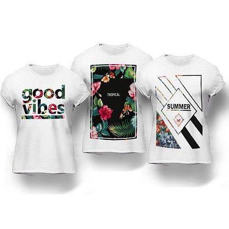 Kit 3 Camisetas Good Vibes