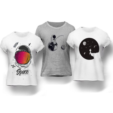 Kit 3 Camisetas Space