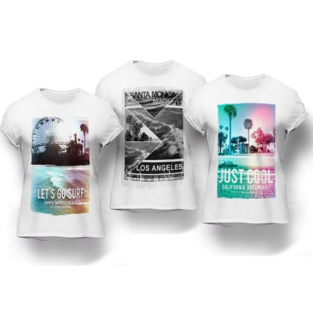 Kit 3 Camisetas Cidades Multicolor