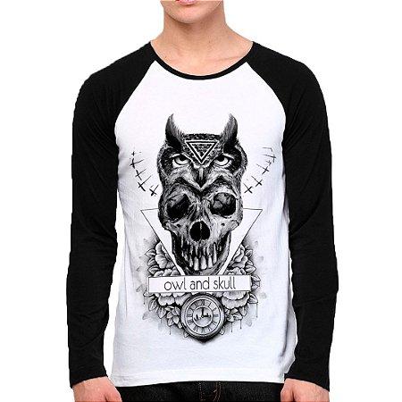 Camiseta Manga Longa Owl and Skull
