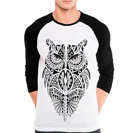 Camiseta Manga Longa Coruja Maori