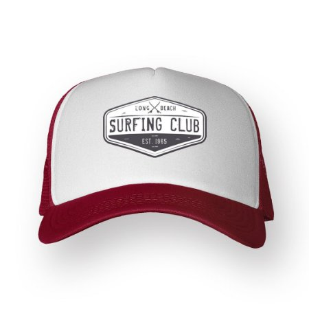 Boné Trucker Surfing Club Bordo com Branco