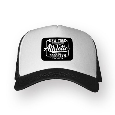 Boné Trucker New York Preto com Branco