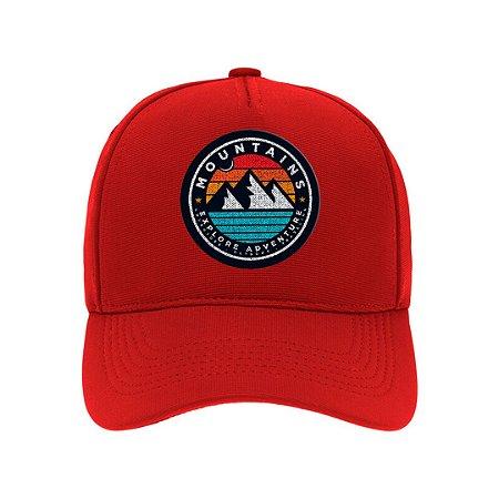 Boné Aba Curva Mountains Vermelho