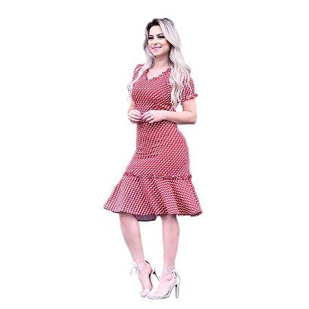 b058fce4b Vestido Feminino Festa Midi Babado Listrado Moda Evangélica ...