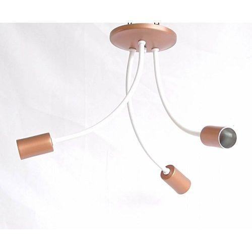 Plafon Aranha 3 Lâmpadas E27 - Branco/Cobre