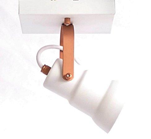 Spot Canopla Quadrada - 1 Lâmpada - Branco/Cobre