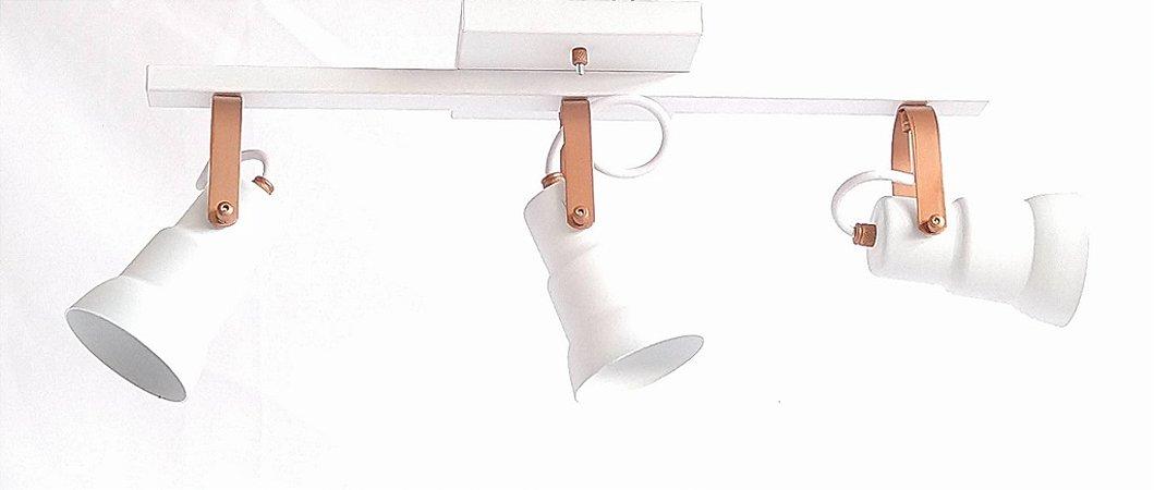 Spot c/ Trilho Canopla Quadrada - 3 Lâmpadas - Branco/Cobre