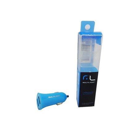 Carregador USB Veicular Multilaser CB079 Azul