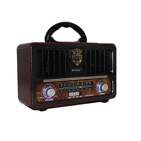 Rádio Retrô Livstar CNN-2580BT FM/AM/SW Marrom