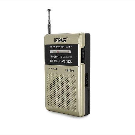 Rádio Portátil Lelong LE-650 AM/FM Champagne