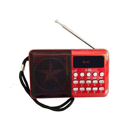 Rádio Portátil Altomex JD-31 TF/USB/FM Vermelho