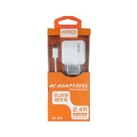 CARREGADOR KD-301S KAIDI MICRO USB V8 2 USB