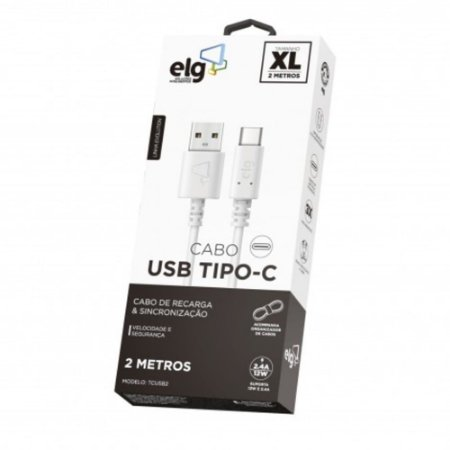 Cabo USB para Tipo-C ELG TCUSB2 2MT Branco