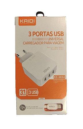 CARREGADOR KD-606A KAIDI IPHONE 3 USB