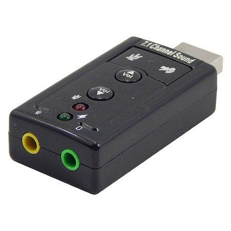 Adaptador Placa Som USB Virtual 7.1