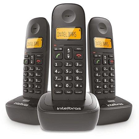 Telefone Sem Fio TS2513 + 2 Ramais Intelbras Preto