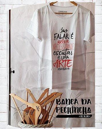 Camiseta Universitária - Psicologia - Divã - Branca - Basic