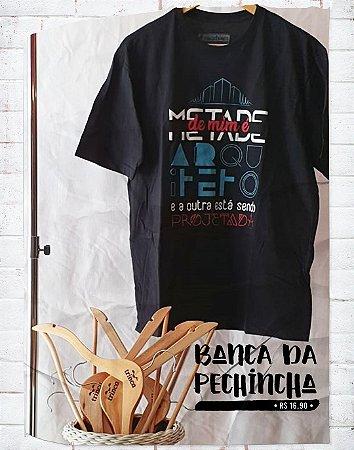 Camiseta Universitária - Arquitetura e Urbanismo - Na Planta - Preta - Basic