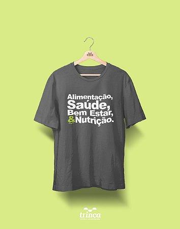 Camisa Universitária Nutrição - Três pilares - Cinza Chumbo - Premium